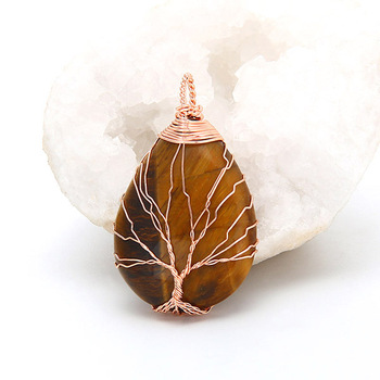 Handmade Tree of Life Natural Quartz Stone Necklace19