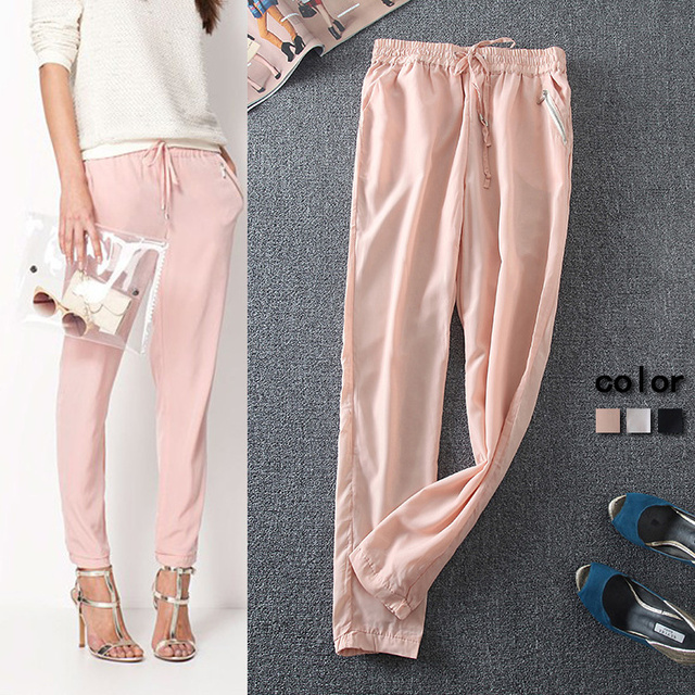0e301a0c60bf Promotion 2015 Summer Style New Women Casual Clothes 7 Colors Chiffon  Drawstring Lightweight Loose Pants Hot Sale