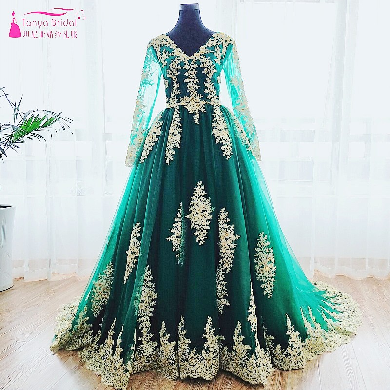 V Neck Long Sleeve Green Wedding Dress with Gold Lace Applique Lace Up On Back A