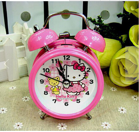 New Hello Kitty Lovely Luminous Alarm Clock Creative Lazy Dedicated Desk Clock Anime Children 8*13*5CM