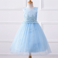 Custom New Years Girls Lace Dresses With Pearl Spring Kids Embroidery Ball Gown Formal Children Flower