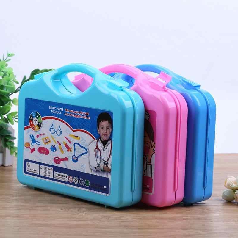 15pcs เด็ก Doctor พยาบาล Pretend Play ชุดกระเป๋าเดินทางแบบพกพาเครื่องมือทางการแพทย์เด็กการศึกษาบทบาทเล่นพลาสติกของเล่นคลาสสิก