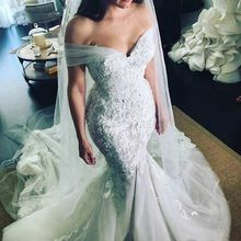 QUEEN BRIDAL Custom Made Mermaid Cap Sleeve Wedding Dresses