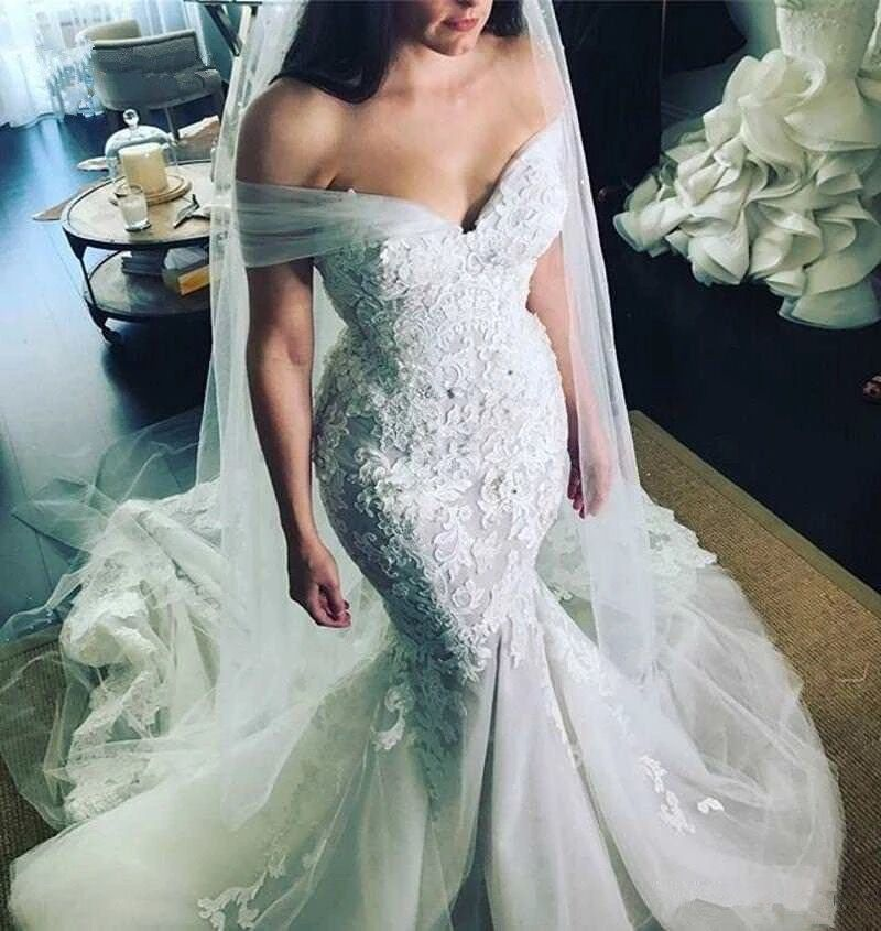 Custom Made Mermaid Cap Sleeve Tulle Lace Flowers Vintage Sexy Wedding Dresses Wedding Gown 2019 New Vestidos De Novia WS09