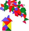 BOHS Wooden Multi Shapes Geometric Tangram Puzzle Board 57pcs