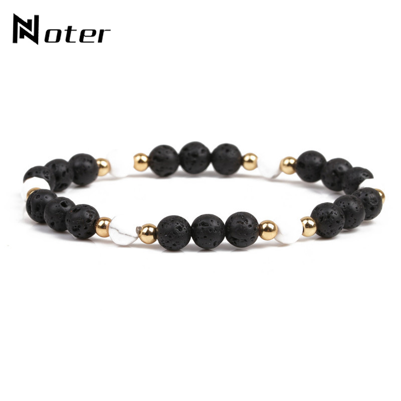Noter Black Lava Stone Buddha Bracelet Handmade DIY Beads Braslet For Men Yoga Meditation Jewelry Pulseira Homme