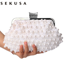 SEKUSA Evening Bags Women Clutch Bags Evening Clutch Bags Wedding Bridal Handbag Pearl Beaded Lace Rose Fashion Rhinestone Bags