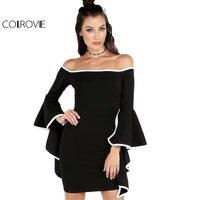 COLROVIE Contrast Trim Bardot Dress Asymmetrical Ruffled Sleeve 2017 Women Black Summer Dresses Sexy Slim Off