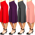 Fashion Women High Waist Solid Color Wide Leg Culottes Palazzo Pants Trousers