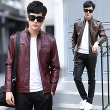 2017 New Male leather clothing Leisure clothes men's Stand collar thin leather jacket sheepskin casual outerwear abrigo de cuero