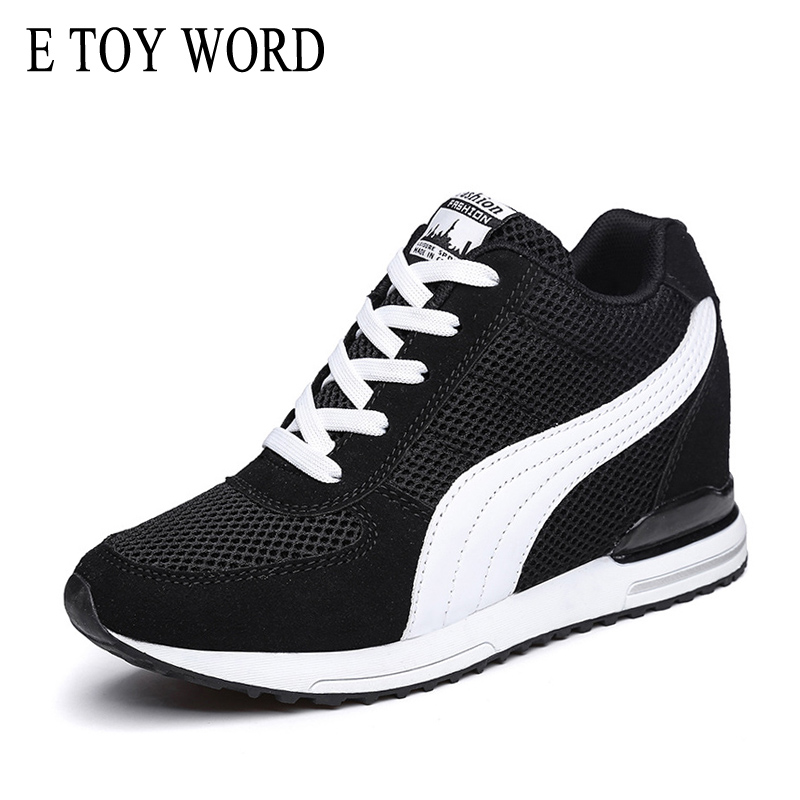 E TOY WORD Sneakers women Platform Wedge sneaker Tenis Feminino Breathable mesh casual shoes Height Increasing Womens sneakers