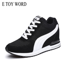 E TOY WORD Women Sneakers Autumn Fashion Casual Shoes Mesh Breathable Height increasing Platform Sneakers Women Tenis Feminino 2017 new arrival popular women casual female breathable height increasing shoes shake tenis feminino air mesh sandals 1613
