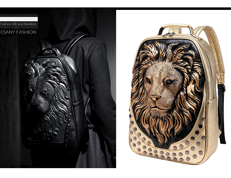 Large Size Motorcycle Backpacks Three-dimensional Lion Backpacks Tough Guy Punk Rivet Decoration Backpack