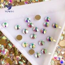 YANRUO 2058NoHF kristal AB taklidi Flatback olmayan düzeltme cam kristaller taşlar Nail Art Rhinestones giysi için el sanatları takı
