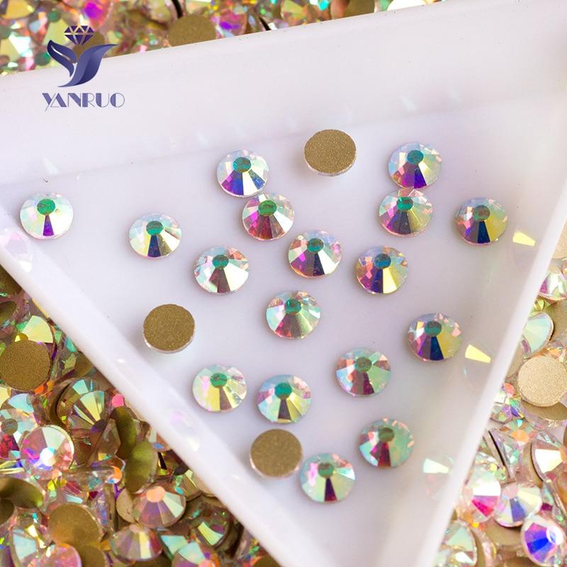 YANRUO 2058NoHF Кристал AB Rhinestone Flatback Не виправлення Скло кристали Камені Nail Art стразами для одягу ремесла ювелірні вироби