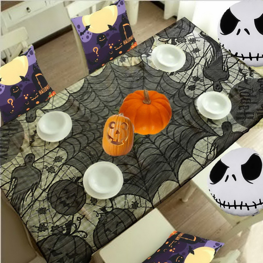 Grisly Bloody Spider Web for Halloween Decoration Black Polyester Halloween Tablecloth Tablecover Festive Party Supplies 60