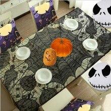 Ужасное кровавая паутину для хэллоуина украшения черный полиэстер Хэллоуин скатерть Tablecover праздничных вечеринок 60 * 80in