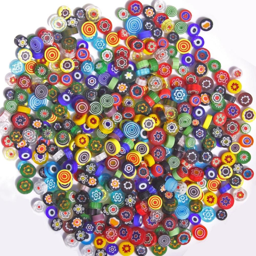 100 g/ Pack ( About 120 pcs ), Miliflori glass beads transparent opaque miliflori glass, Italy Millefiori(China)