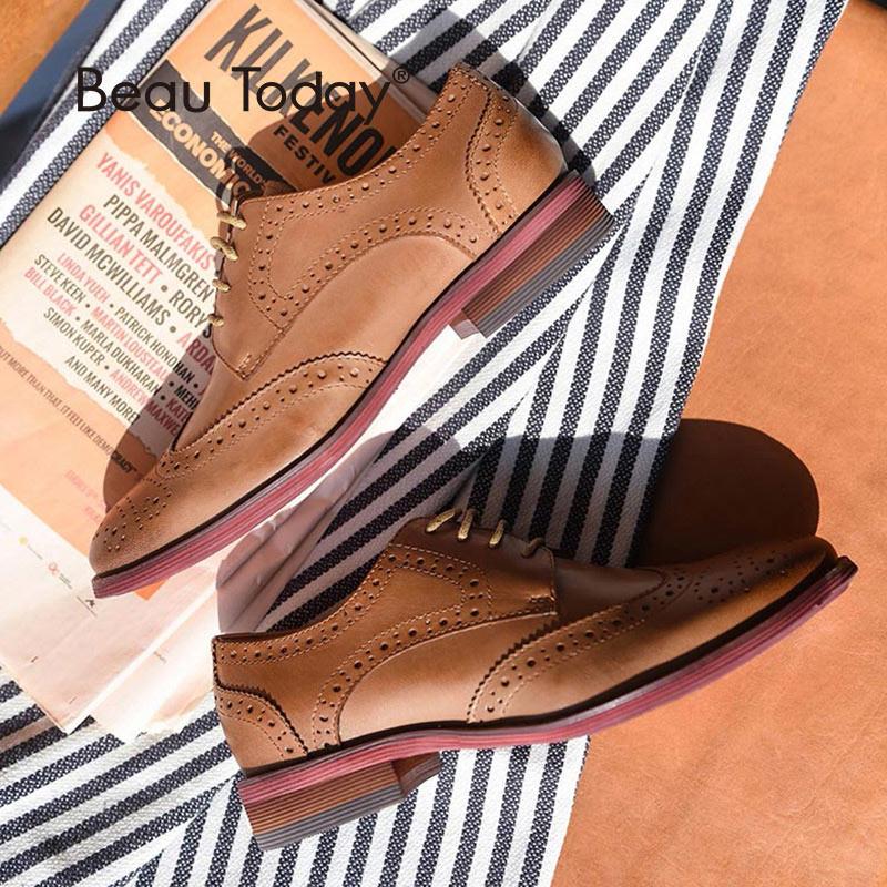BeauToday Brogue cipő női Wingtip Oxfords valódi bőr csipke-up kerek lábujjbőr hölgy lakások plusz méret 21024