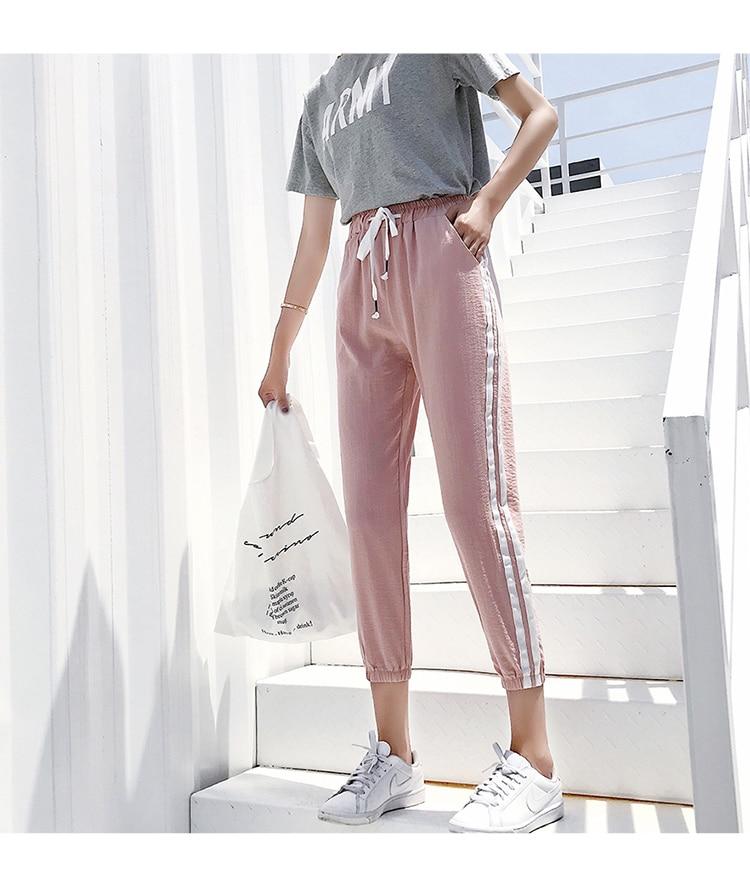 Women Pants Casual Sports Jogging Bottoms Side Stripe Drawstring Sweat Trousers Women Loose Elastic Waist Sportswear Pants 12