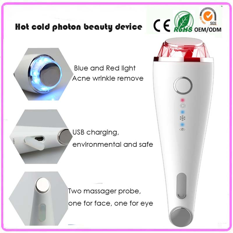 Rechargeable Mini IPL Photon Light Acne Wrinkle Remover Vibration Hot Cold Therapy Facial Firming Skin Lifting Massager Machine anti acne pigment removal photon led light therapy facial beauty salon skin care treatment massager machine