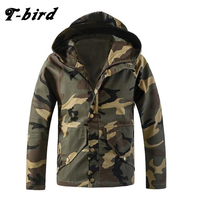 T Bird Brand Clothing Men Jacket 2017 Camouflage Loose Bomber Jacket Tactical Hooded Casual Slim Male