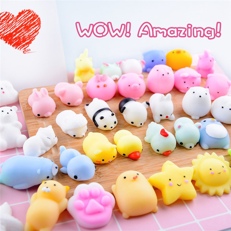 20PCS/lot Mini Kawaii Squishy Animals Toy Squeeze Cartoon Relieves Antistress Soft Slow Rising Cat Panda Kids Sticky Funny Gifts
