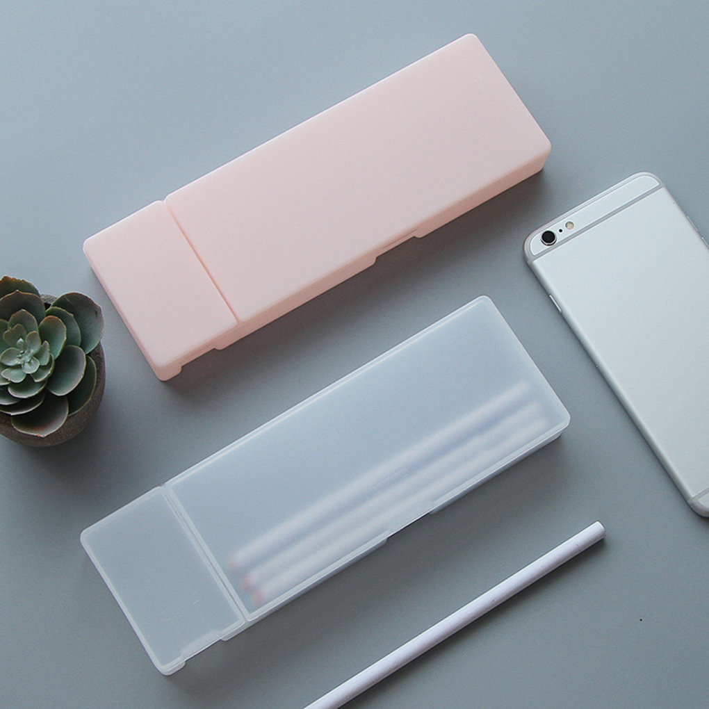 New Simple Transparent Pencil Case Frosted Plastic Pencil Pens Storage Box Stationery Office Supplies 3 Specifications
