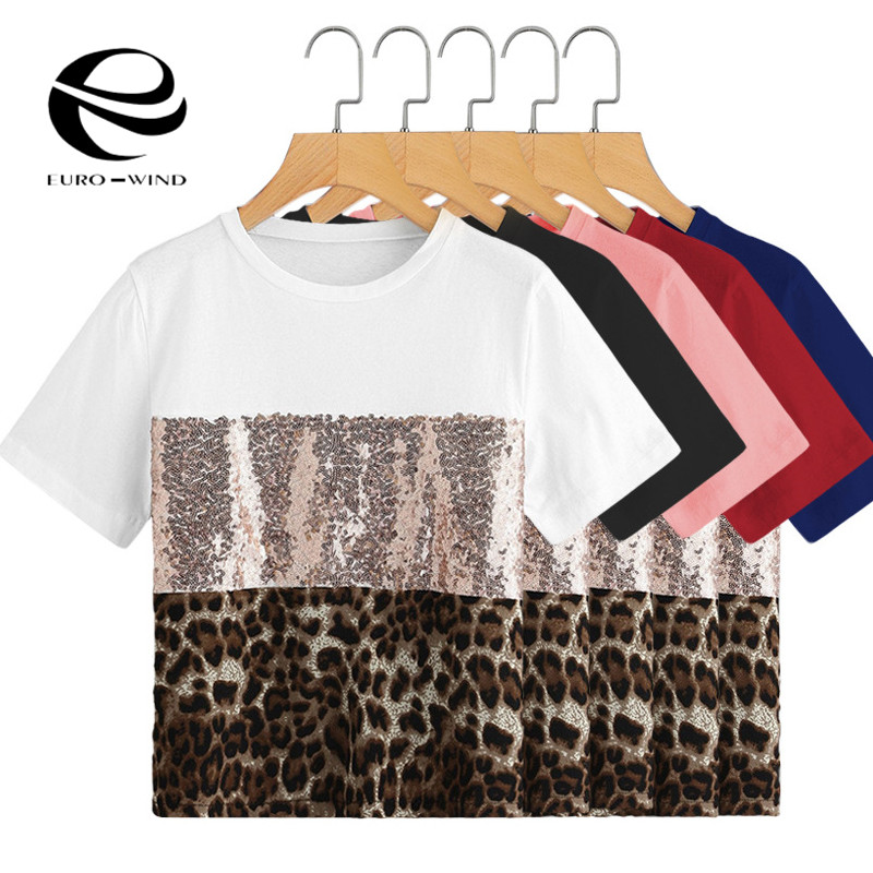 12 Colors Summer Top Women Causal T-shirts Patchwork Leopard Snake Print Sequin Short Sleeve Tee Shirts Female Casual Tops Blusa Driving A Roaring Trade