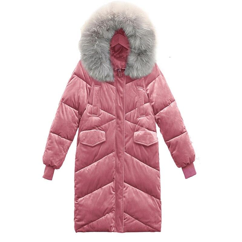 Parka 2018 Col Longue Chaud beige Hiver Manteau Femelle Femme black Femmes Doudoune pink Faux Blue Veste Fourrure D'hiver Survêtement De qxq8OwC