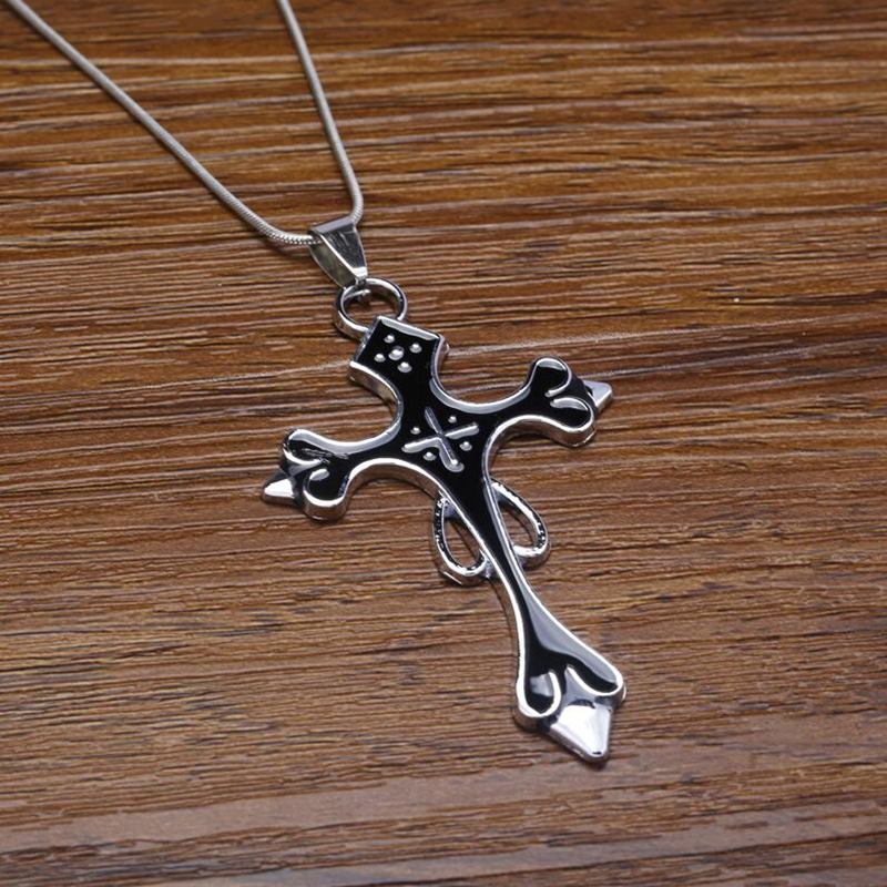 New in stock Black blue cross 50cm Chain Necklace Pendant Gos