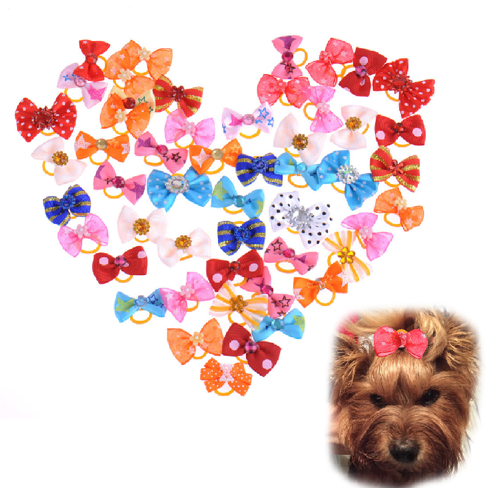 100 PCS Handmade Designer Pet Dog Accessories Grooming Hair Bows Dog