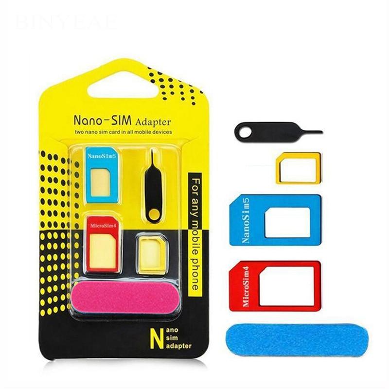 5 in 1 Sim Card Adapters For Samsung Galaxy Note 3 N9000 N9002 N9005 Nano Micro Standard Sim Card Adapter abrasive Bar Card Pin