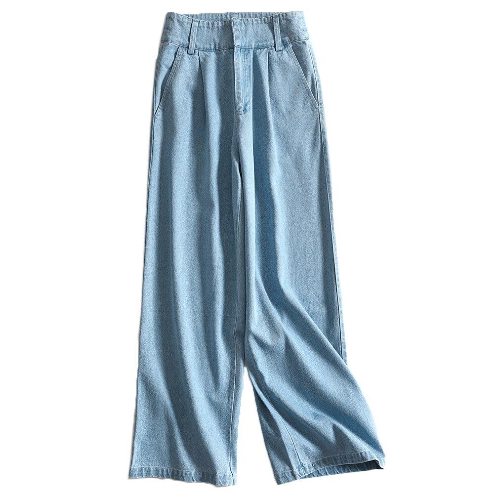 Longitud Dark light Otoño Moda De Ancha Mezclilla Blue Mujer Alta Blue Pierna Xxl Falda Invierno Casual Completa Cintura Pantalones ZdTHwTzq