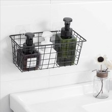 Japanese Wrought Iron Wall-mounted Storage Basket Bathroom Free Punch Hanging Drain Kitchen Holder
