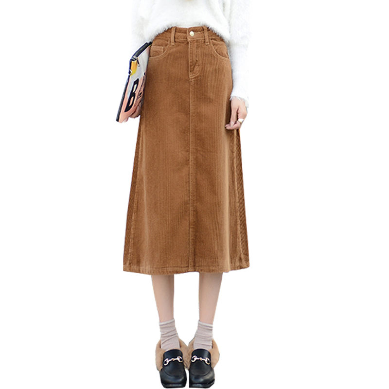 XS-8XL Women Clothes 2019 Spring Long Corduroy Skirts High Waist Plus Size Loose Casual Umbrella Skirt Fashion Saia Midi F1130