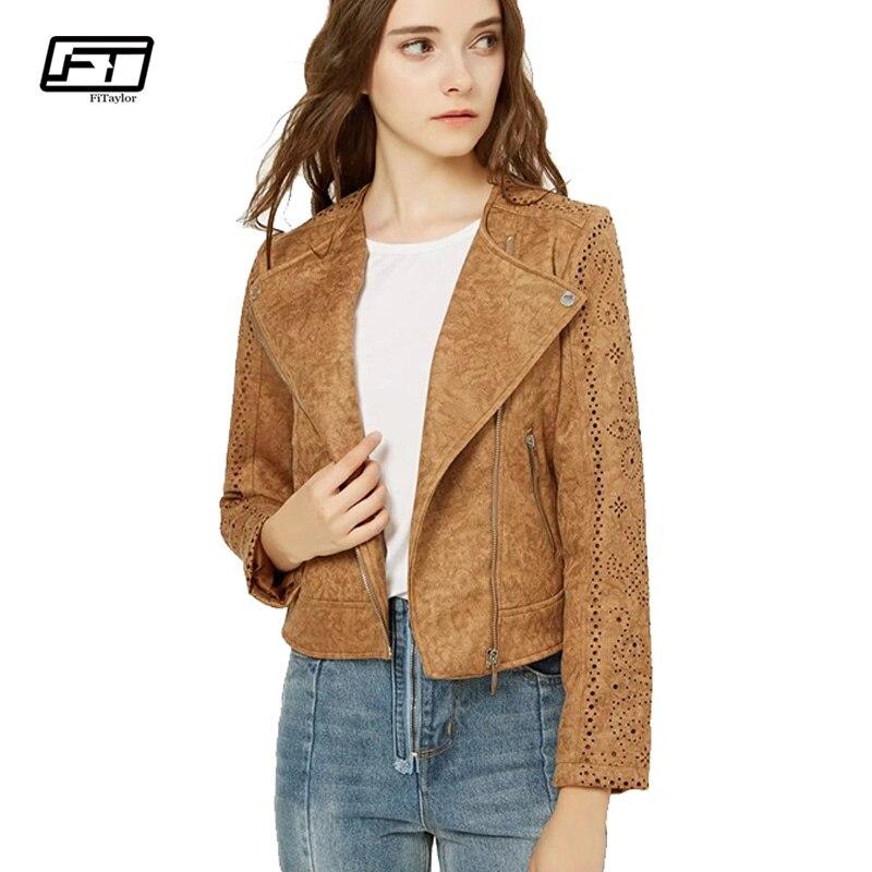Fitaylor Women Suede Leather jacket Vintage Punk Leather Coat Hollow Out Indie Folk Biker Jacket Bomber Pink Matte Outwear