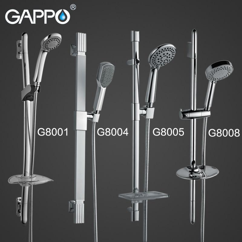 GAPPO Bathroom Shower Slide Bar Stainless Steel Hand Wall Mount Set Soap Dish Holder Sprayer