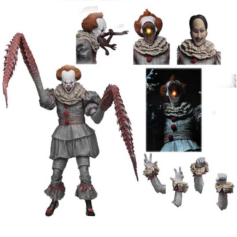 Com led original neca 4 cabeças stephen king ultimate s ele final pennywise figura de ação colecionável para crianças brinquedos presentes do dia das bruxas