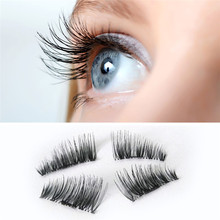 Maquiagem 1 Pair  NEW Ultra-thin 0.2mm Magnetic Eye Lashes 3D  Fiber  Reusable False Magnet Eyelashes Extension JU19