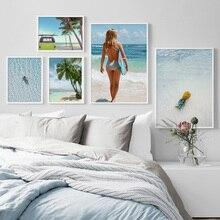 купить!  Пляж для серфинга Кокосовая пальма Море Автомобиль Пейзаж Wall Art Холст Картины Северные Плакаты