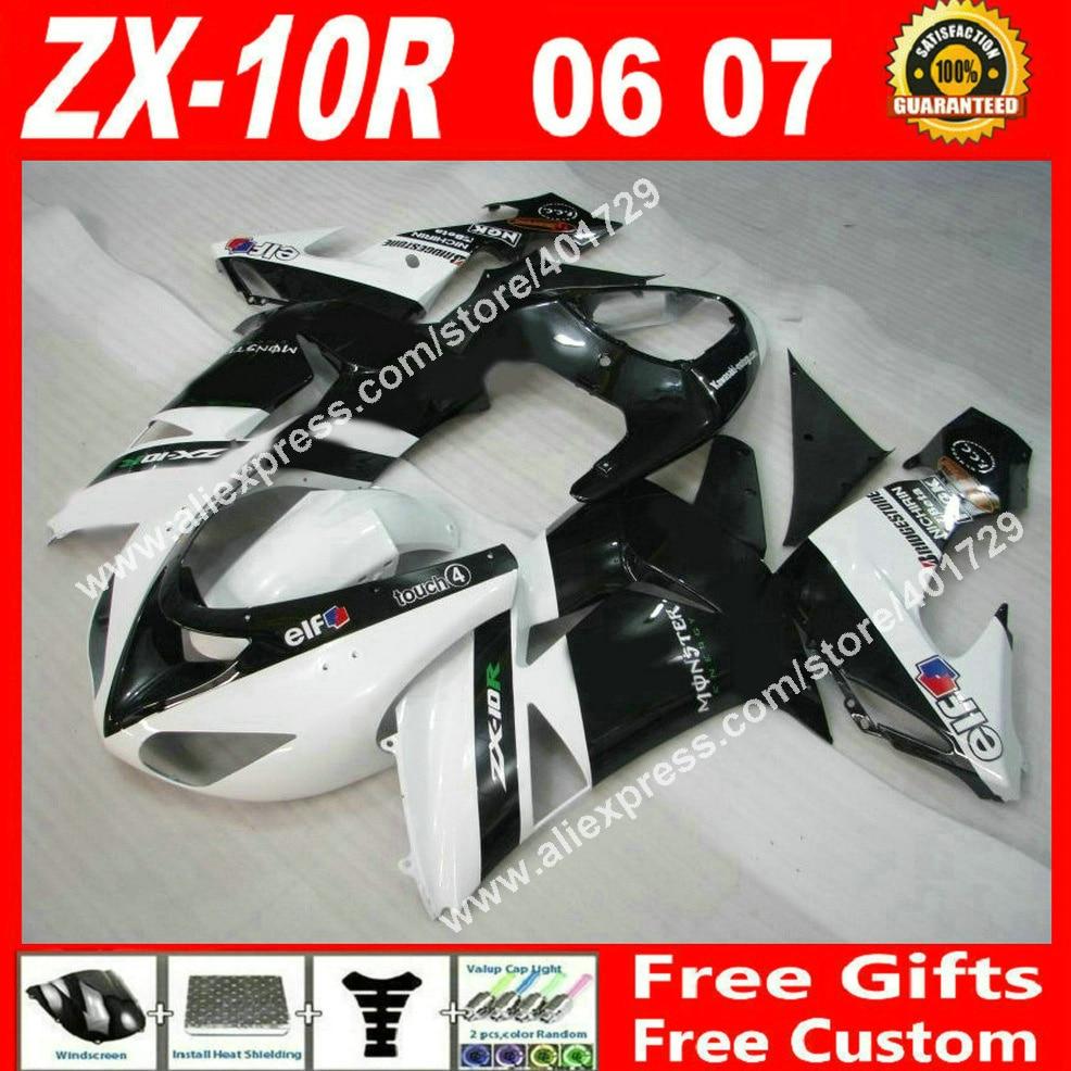 Brand new Carénages pour carrosserie Kawasaki ZX10R 06 07 plat noir blanc 2006 2007 ZX-10R carénage set 7 cadeaux LF03