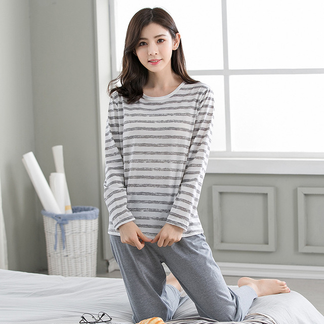 cfcd8a6cb 2018 autumn New Arrival Women Cotton Modal Pajama Sets Long Sleeve  Sleepwear Set Two-pieces Big Size O-neck Breathable Pyjamas
