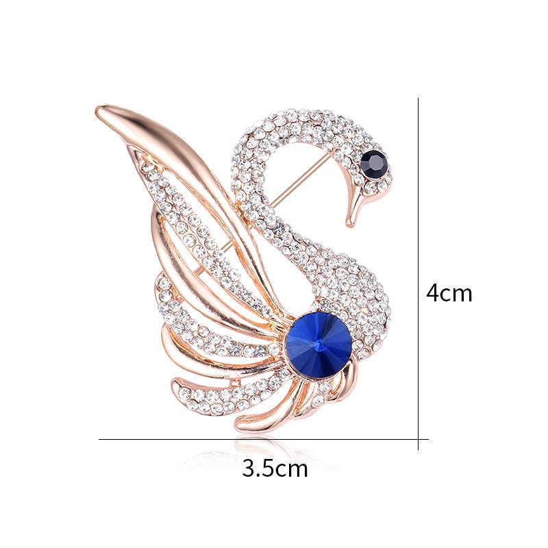 Weimanjingdian Biru Kristal dan Jelas Berlian Imitasi Angsa Bros Pin untuk Wanita atau Anak Perempuan