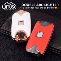 WITUSE Pas Cher! Coupe-Vent Double Arc Léger Électronique USB Recharge De Briquet Allume la Cigarette Électrique Jaune Blanc Noir