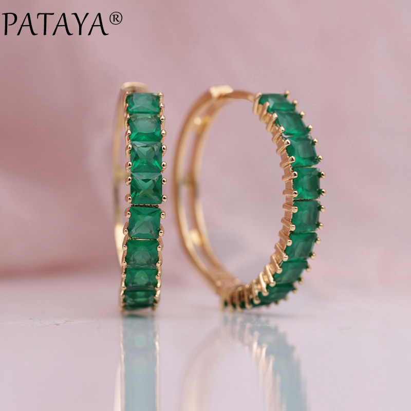 PATAYA nouveau 585 Rose or vert carré naturel Zircon Long Dangle boucles d'oreilles pour les femmes cadeau de fête de mariage Fine élégante fille bijoux