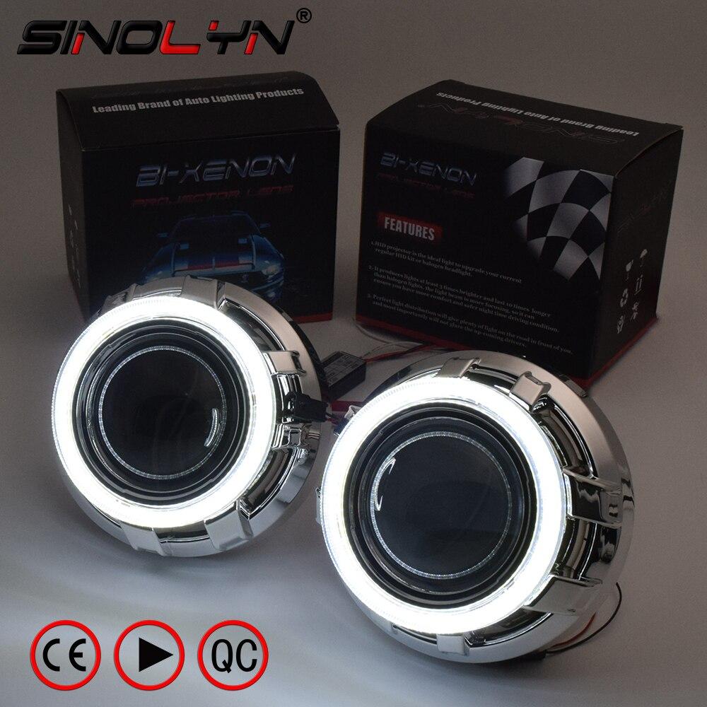 SINOLYN 3.0 Pro HID Bi xénon Lentilles phare de voiture Projecteur Lentille COB led Ange Yeux Halo DRL Projecteur Rénovation voiture à monter soi-même- style