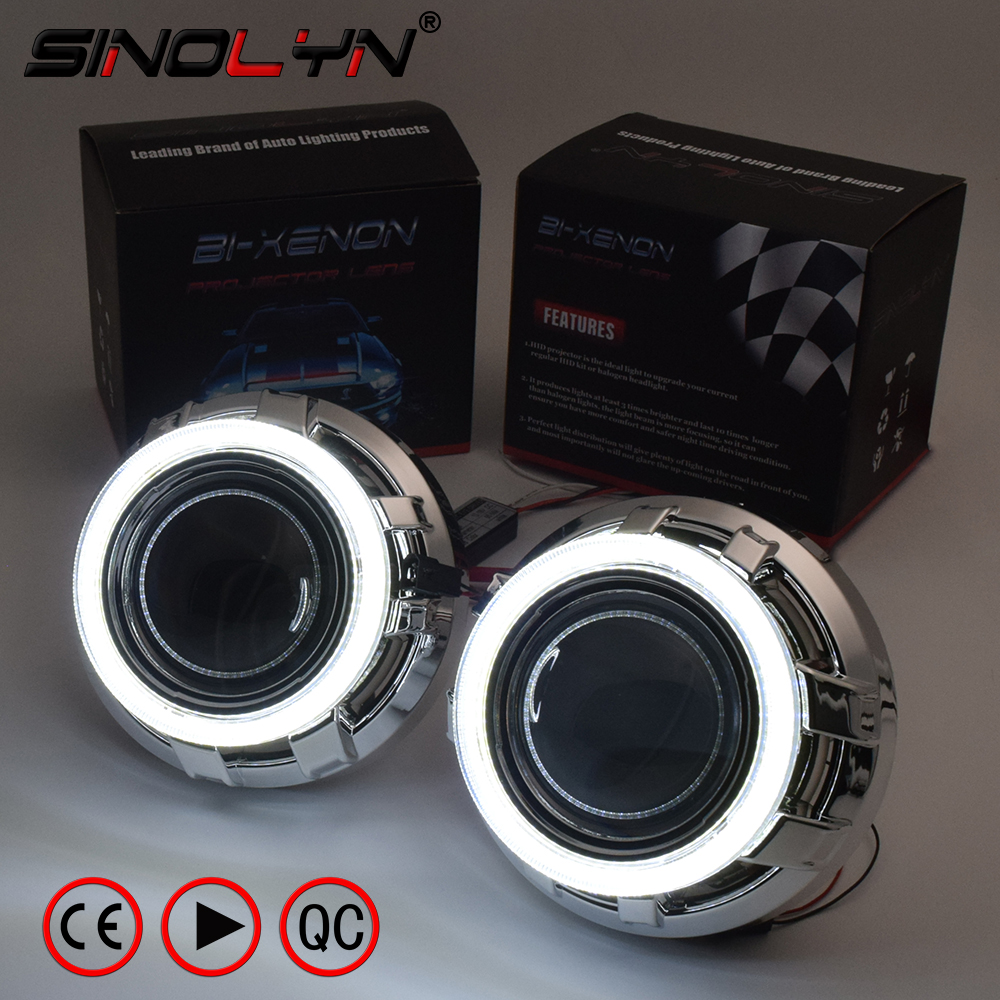 SINOLYN 3.0 Pro HID Bi xenon Lenses Headlight Car Projector Lens COB LED Angel Eyes Halo DRL Headlamp Retrofit DIY Car-styling 2x 2 5 inch led fog angel eyes cob halo ring drl projector lens driving car styling replacement accessory auto bulbs for mazda