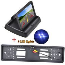 Car Rear View Mirror Monitor 4.3 inch Parking Rearview Monitor Night Vision EU Plate Frame Reverse Camera Rear view camera