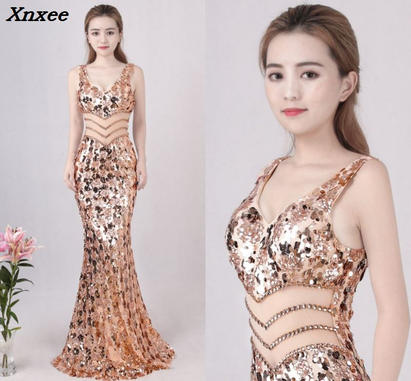 2018 Sexy Gold Mermaid Sequins Dress Backless V neck Long Evening Party Club Woman Silver Maxi